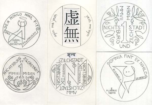 The original Nichtsburg and Zilchstadt coin designs