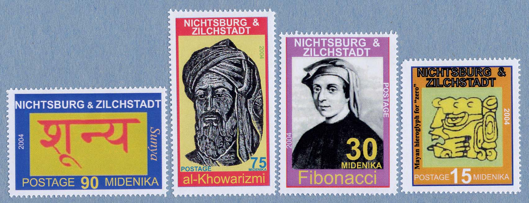Click here for a larger sized image of the 2004 Nichtsburg and Zilchstadt stamps